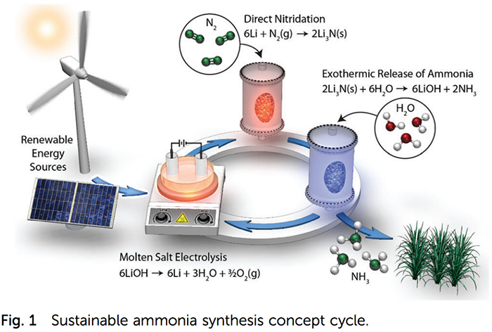 Image: Nørskov et al, Ammonia synthesis from N2 and H2O using a lithium cycling electrification strategy at atmospheric pressure, Energy & Environmental Science, July 2017